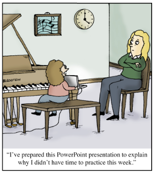 Funny piano lesson cartoon